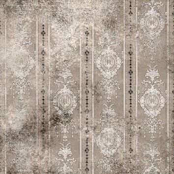 DAMASK GRAY TAUPE TAN PLATINUM CLOTH BACKDROP - 8x8 - LCPC1899 - LAST CALL