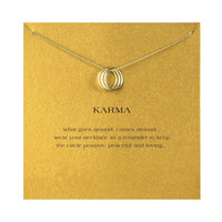 Hot Sale Sparkling triple karma round gold plated Pendant necklace Clavicle Chains Fashion Statement Necklace Women Jewelry