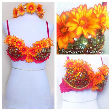 Sunburst Yellow/Red Daisy Rave Oufit   (includes: Daisy Rave Bra & Daisy Headband)