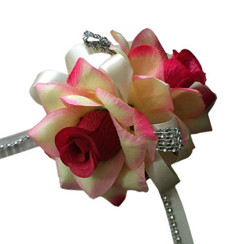 Wrist Corsage: Shades of Hot Pink and Ivory Two Rose Corsage