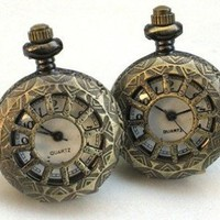 Steampunk WINDOWS IN TIME - POCKET WATCH CUFFLINKS cuff links Steam Punk Brass