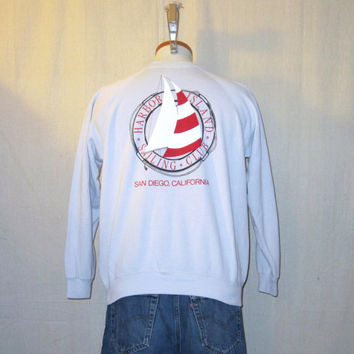 Vintage 80s San Diego SAILING GRAPHIC Beach California Medium Cotton Acrylic Crewneck SWEATSHIRT