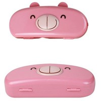 JAVOedge Pink Bear Hard Shell Cute Cartoon Face Eyeglass Case, Bonus Free Soft Microfiber Lens Cleaning Cloth