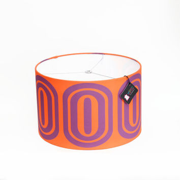"Modern Lamp Shade - Free Shipping - 14"" Drum - Orange and Purple Op Art Ovals"