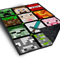 iOffer: All Minecraft Quilt Face on Blanket for sale