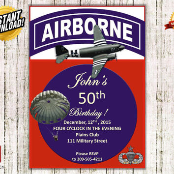 Instant Download Airborne Birthday Invitation, Retirement, Anniversary, Army party, Military, DIY, i00000240s_ADU, ADU