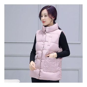 Winter Waistcoat Vest Thick Down Coat Woman Short   pink