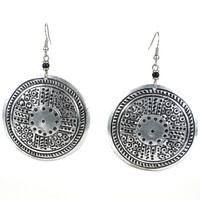 Stamped Recycled Cooking Pot 'Medallion' Earrings