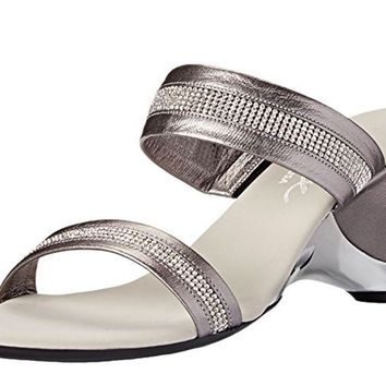 Onex Stunning Pewter Leather Slip On Sandals