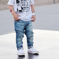 Rocked Out- Unisex Skinny jeans boys girls denim distressed jeans baby toddler clothes hipster fashion ripped