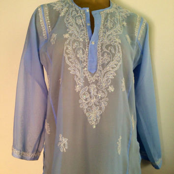 Sheer India Tunic Blue White Embroidery Sequins See Through Light Blue Indian Tunika Vintage Boho Peasant Top Side Slits M namaste