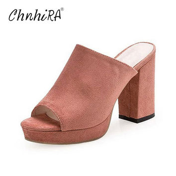CHNHIRA Faux Suede Mules Summer Sexy High Heels Platform Shoes Woman Slippers Slip On Slides Pumps Casual Women Shoes#CH405