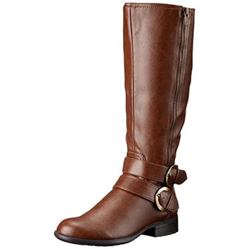LifeStride Womens X-Must Faux Leather Knee High Riding Boots