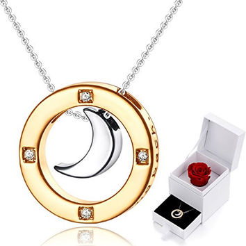 """Gift for Mom-MARENJA Women's Necklace with Ring&Moon Pendant Engraved """"I Love You to the Moon and back"""" Bicolor Gold plated Preserved Rose Gift Box Packaged"""