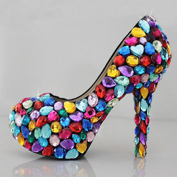 Colorful Womens Silver Rhinestone High Stilettos Heels Spring Wedding Prom Dress Party Occasions Pumps Shoes