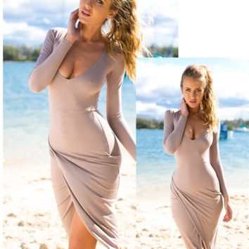 Scoop Neck Long Sleeves Draped Bodycon Dress