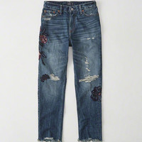 Womens Embroidered High-Rise Girlfriend Jeans | Womens Bottoms | Abercrombie.com
