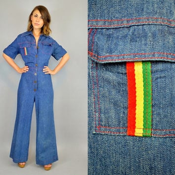 VANDY VANDERBILT dark wash denim slouchy workman mechanic utility vtg 1980s COVERALLS jumpsuit Onesuit, small-medium