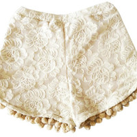Sweet Days Lace Pom Pom Shorts by brownbelly on Etsy