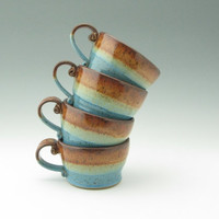 Stoneware Cappuccino Cup, Handmade Pottery 14 oz Soup Cup, Honey Brown and Light Blue Soup Latte Mug Ready to Ship