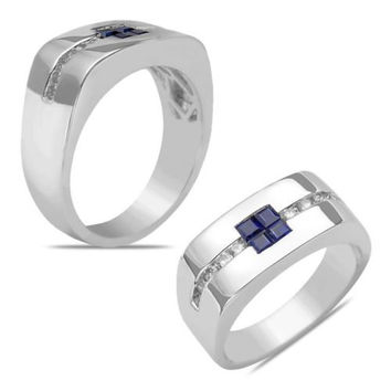 Men's 1/4CT Diamond Sapphire Ring in 14k White Gold with a Cage Back