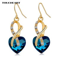 TOUCHEART Luxury AAA Cubic Zirconia Earrings Fashion Jewelry Gold Color Crystal Heart Earrings for Women 2017 Pendientes Mujer