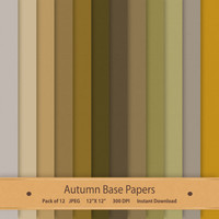 Digital Scrapbook Paper Autumn Base Papers Textured Paper Pack Digital Background Commercial Use Graphics Brown Cream Green Grey Gray Art