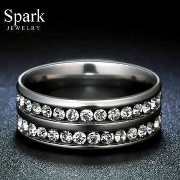Super Quality 4 Colors Promised 316l Stainless Steel Engagement Rings Titanium Steel CZ Rings