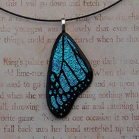 Blue Morpho Fused Glass Butterfly Wing Pendant by fusedelegance