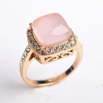 Luxury Square Opal Stone wedding Rings for women Jewelry CZ Diamond rings female Rose Gold Plated AAA Austria Crystals Anel S8