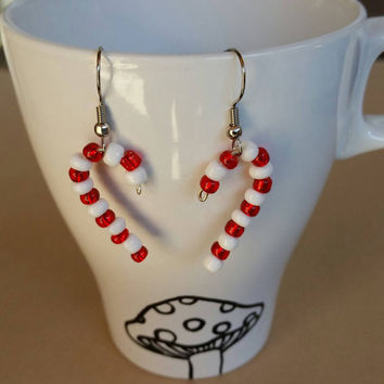 Bead candy cane Christmas earrings