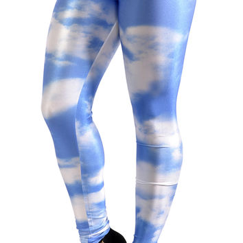 BadAssLeggings Women's White Clouds Leggings Medium Blue