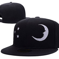 RHXING Moon and Stars Symbol Logo Adjustable Snapback Embroidery Hats Caps