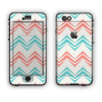 The Vintage Coral & Teal Abstract Chevron Pattern Apple iPhone 6 Plus LifeProof Nuud Case Skin Set