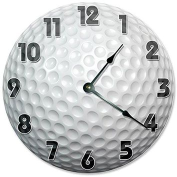 "Large 10.5"" Wall Clock Decorative Round Wall Clock Home Decor Novelty Clock GOLF BALL"