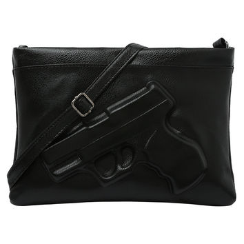 Faux Leather Gun Embossed Clutch
