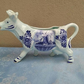 Cow Creamer Blue & White
