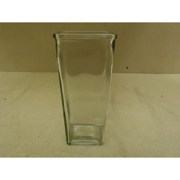 Designer Flower Vase 9in H x 4in W x 4in D Clear Modern Square Tapered Glass -- New
