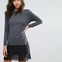 French Connection Melba Knits Sweater Dress with Lace insert at asos.com