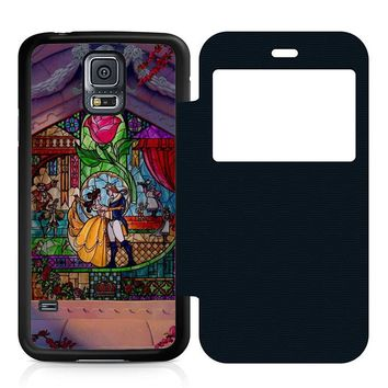 Beauty and The Beast Art Leather Wallet Flip Case Samsung Galaxy S5