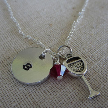 Hand Stamped Aluminum Necklace / Initial Charm and Swarovski Crystal, Wine Charm Necklace, Hand Stamped Jewelry