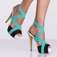 Color-block Elastic Sandal