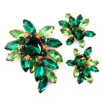 Vintage Green Rhinestone Brooch and Earring Demi
