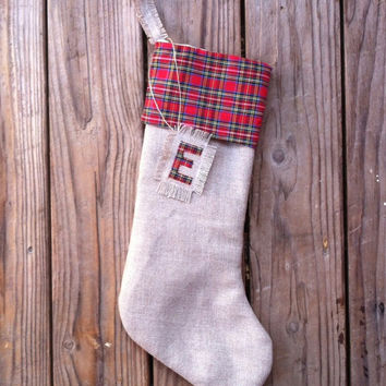 Red Tartan Stocking - Personalized Stocking - Burlap Stocking - Christmas Stocking - Plaid Stocking
