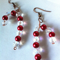 Swarovski crystal and pearl candy cane earrings