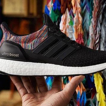 One-nice™ Mi Ultra Boost Rainbow (Black) - Size UK6 US6.5 M US7.5 W - EXTRA laces (grey)