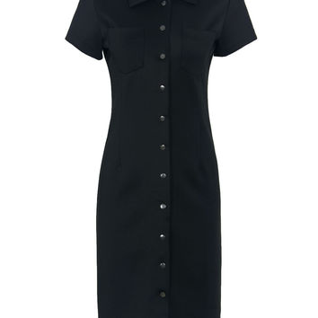 Black Button Front Short Sleeve Midi Bodycon Dress