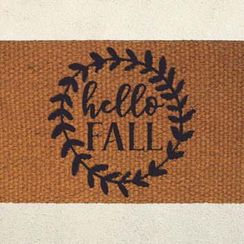 Hello Fall - Autumn Doormat – Hand Painted Coir Outdoor Rug  – Welcome Mat - Home Decor, Seasonal Decor, Fall Decor, Festive Doormat