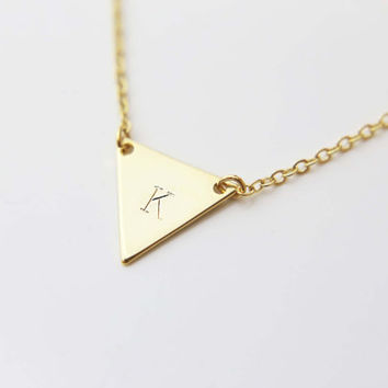 Personalized Triangle Initial Necklace / Monogram Necklace / Personalized Gift