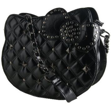 Hello Kitty Black Quilted Stud Head Shoulder Bag w/ Chain Strap
